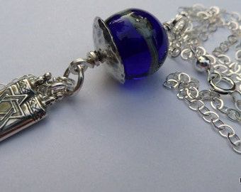 Tikva - Star of David & Cobalt Artisan Lampwork Necklace Sterling Silver Chain Jewelry Hanukkah Inspirational Necklace Holiday Jewelry