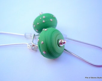 Frothy Mint - Artisan Lampwork with Fine Silver Earrings Long French Ear Wires and Dancing Rings Jewelry Swirling Mint Green Color Earrings