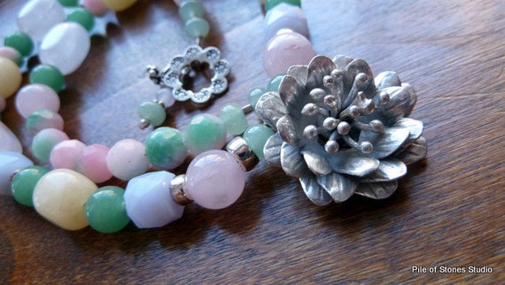 Necklace, Full Bloom, Detailed Hill Tribe Silver Pendant, Pastel Gemstones, Sterling Silver, Summer Garden, Feminine Flower Eye-Catching