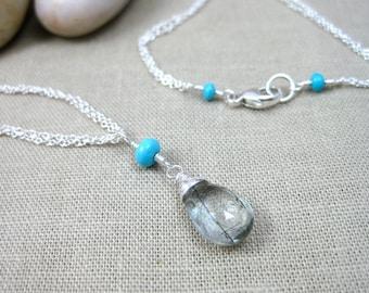 Turquoise Quartz Necklace Sleeping Beauty Turquoise Tourmalinated Quartz Robin Egg Blue Turquoise Sterling Silver Gemstone Necklace - Haven
