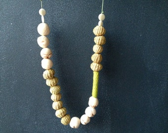 Eco Necklace made with Taguas and Natural Fibers. Beige, Green.