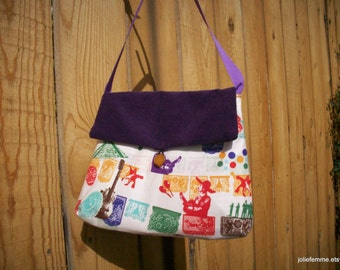 Purple Mexican Fiesta Girlie Handbag  with Ribbon Strap