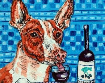 ibizan hound at the wine bar dog art print on Tile coaster gift  modern folk pop art JSCHMETZ