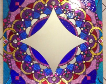 Bollywood Mosaic Mirror Large Handmade Glitter Glass