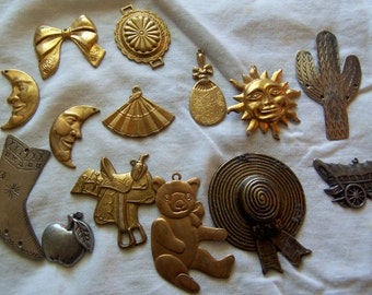 thin brass and pewter supplies and jewelry pieces