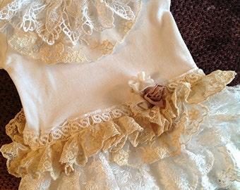 Easter Ruffled Vintage Lace Onesie Bodysuit Birthday, baby shower, first Birthday, Baptism, Baby Photo Shoot, Wedding