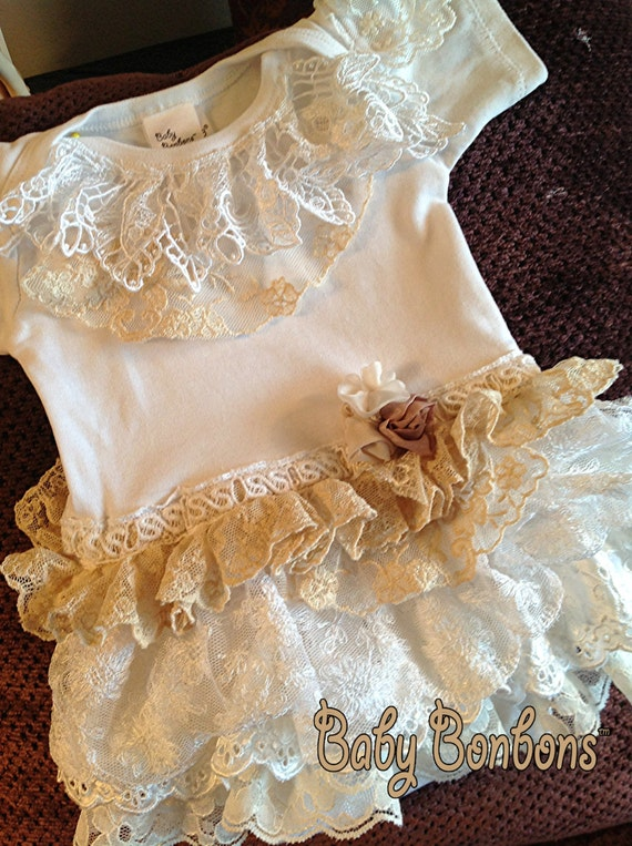 Ruffled Vintage Lace Onesie Bodysuit Birthday By By