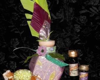 PURPLE and Lime QUILL and Ink POT with Your Choice of Ink,  Handmade