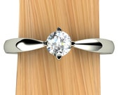 Affordable Diamond Engagement Ring, Solitaire with 14k Recycled Gold Pinched Band - Free Gift Wrapping