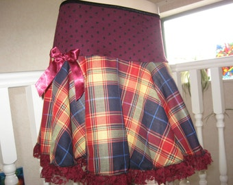 sequoia Burgundy Yellow,Red,Black Linen Tartan Check Lace Frilly A Line  Skirt,Punk,Goth,rock,emo lolita All sizes