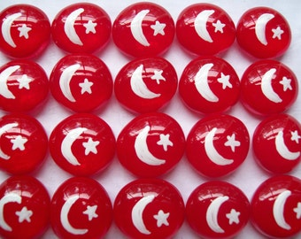 Hand painted Glass Gems party favors mini art  Turkish flag