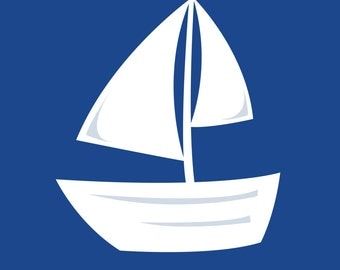 Cobalt Blue Sailboat Print 8.5x11 Digital Download