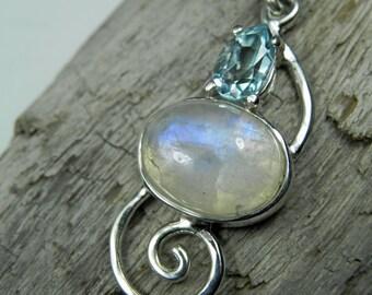 Moonstone Necklace - Rainbow Moonstone BlueTopaz Pendant - Sterling Silver Swirl - Unique Gemstone Jewelry - Rainbow, Blue, Ocean Inspired