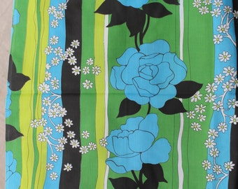 2 Yards Vintage Mod Blue Green & Yellow Colors on Black Rose Daisy Stripe Print Fabric