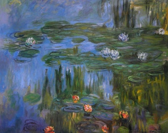 Water Lilies 1914-5 - Claude Monet hand-painted oil painting reproduction,nightscape water lily pond,large wall art canvas,office decoration