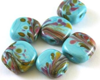 SRA Handmade Lampwork Glass Beads Turquoise Frit Flat Squares