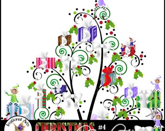 INSTANT DOWNLOAD Christmas 4 French Swirl Tree a gorgeous swirly tree with elves holly and xmas gifts presents