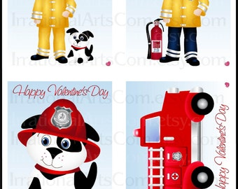 Valentines Day Cards Rusty Fire Fighter EMT - kids class exchange DIY Printing Valentine Boy Firetruck Dalmatian Jpg & Pdf{Instant Download}