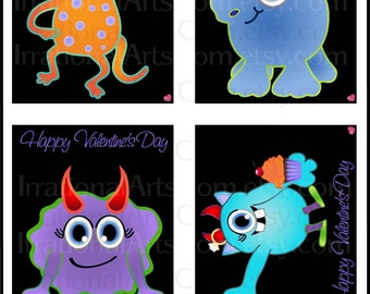 Little Monsters Valentines Day Cards - for kids class exchange - DIY Printing valentine Boy Girl monster cupcake Jpg & Pdf[Instant Download]