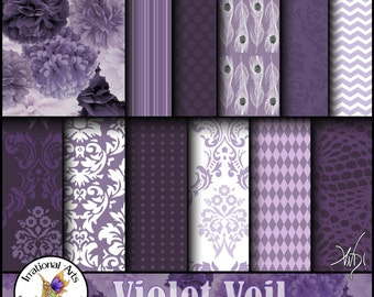 INSTANT DOWNLOAD Violet Veil set 1 Digital Scrapbooking Papers 12 jpg files peacock feathers damask flowers chevron