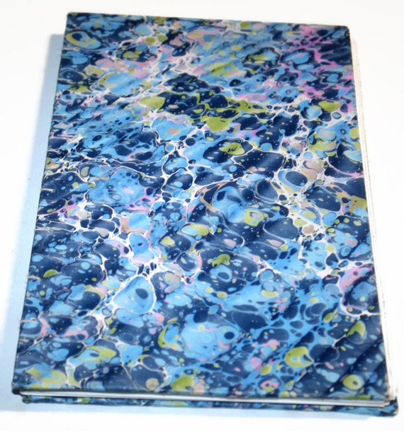 Blue French Fold Marble Journal