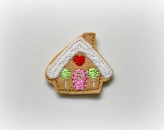 Gingerbread House  Applique, Christmas Applique,  Set of 4 Felt Embroidered Appliques