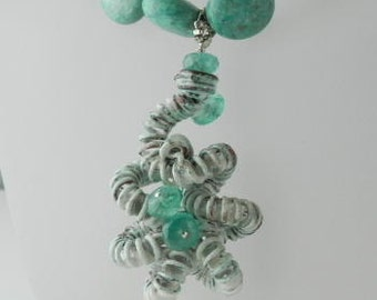 Turquoise and Apatite Enamel Necklace