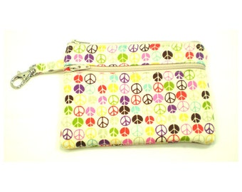 Larger Zippered Wallet Change Purse Gadget Case Small Peace Signs on Cream