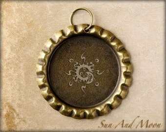 20 ~ Antique Bronze Flattened Bottle Caps ~ Split Ring Attached ~ Great With Our 1 Inch Circle Resin Drops with Ball Chain ~