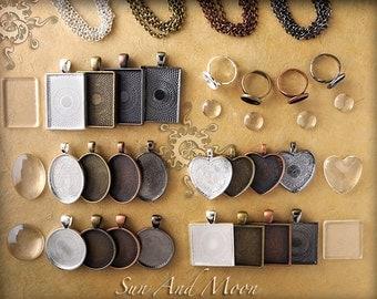 Original Can Crafting Kit ~ 24 DiY Kit ~ Bulk Blank Pendant Trays ~ Necklaces ~ FX Crystal Clear Glass ~ 2 oz Sun and Moon GLAZE