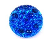 1 Blue Zircon 18mm Bumpy Top Low Dome Glass Cabochon, Round, Flat Back