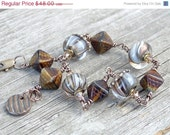 ON SALE Lampwork Bead Czech Czech Glass Diamond Bead Yellow Bronze Bead Brass Copper Bracelet