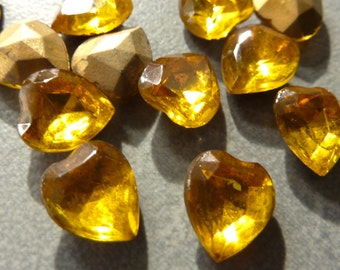 Vintage Topaz 9x8mm Faceted Heart Shaped Glass Stones (6)