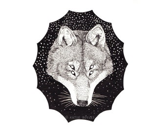 Double Vision - Giclee Print Celestial Wolf Illustration 5 x 7""