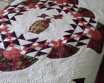 Quilt Patchwork Quilt Jacobs Ladder and Fans with Vase of Irises Full Size
