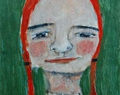 Original Acrylic Fun Quirky Portrait Painting. Girl Portrait Art. Office Wall Art