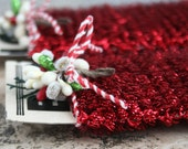 Tiny Spiral Red Tinsel Garland for Decorating and Crafting - Christmas Tinsel Trim - Miniature Doll House Garland