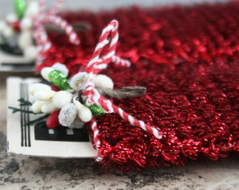 Tiny Spiral Red Tinsel Garland for Decorating and Crafting - Christmas Tinsel Trim - Miniature Doll House Garland - Holiday Red Tinsel Trim
