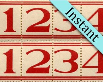 INSTANT Download 100 Red Lined Number Labels - Printable Vintage Style Labels - Digital Number Download Numbers - Sticker Labels