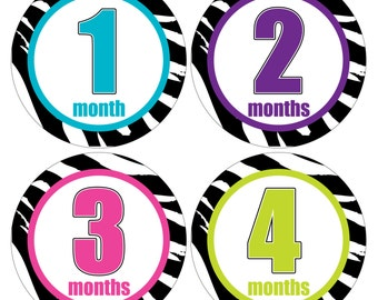 12 Monthly Baby Milestone Waterproof Glossy Stickers - Just Born - Newborn - Weekly stickers available - Design M039-01