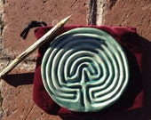 Classical Tracing Labyrinth with velvet sack and tracing stick-Watery multi green