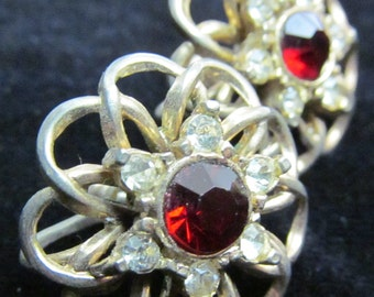Vintage Gold-Toned and Ruby screw on earrings