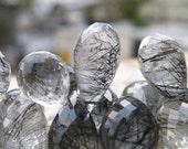 Rutilated Quartz Gemstone Briolette Black Faceted Tear Drop 14mm 5 beads