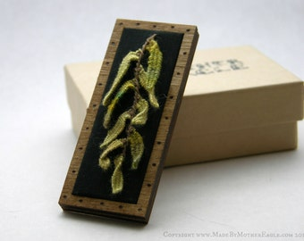 The All Hallow's Willow Pin - Miniature Stumpwork Embroidery and Birch Wood
