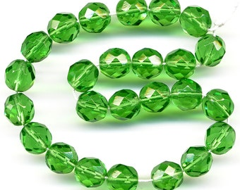 Vintage Green Beads 8mm Faceted Translucent Glass Rounds