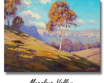 MEGALONG VALLEY Oil PAINTING Original Landscape on canvas by G. Gercken