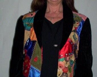 Geisha Faces Crazy Quilt Jacket Original Art Handmade