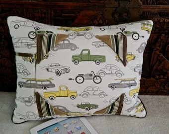 iPad Tablet Accessory  Pillow Stand - Cars and Trucks and things that Go