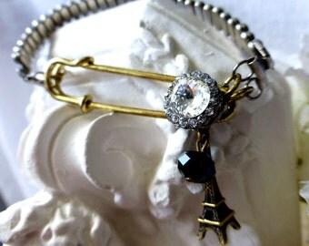 Paris Toujours Vintage Reclaimed Bracelet - Eiffel Tower Rhinestone Assembled Vintage Jewelry -  Honeymoon Travel Gift Fashion Bracelet