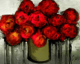 """30"""" x 40"""" Original Painting - Modern Red Flowers Abstract Art by SLAZO - Made to Order"""